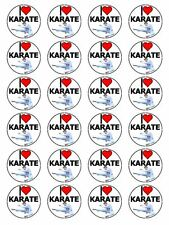 """x24 1.5"""" I Love Karate Japanese Martial Art Cupcake Topper On Edible Rice Paper"""