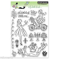 New Penny Black A LITTLE BIRD Clear Stamps Girl Bicycle Cake Flowers Birdie Gift