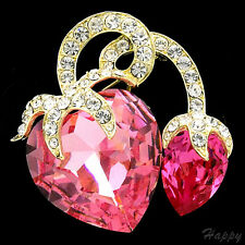 "1.7"" Luxury Pink Rose Clear Crystal Strawberry Fruits Pin Brooch 14K GP Bridal"