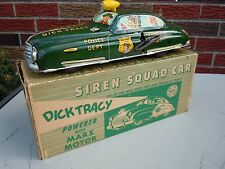1950 Marx Tin Windup/Battery Op Dick Tracy Siren Squad Car in Orig Box . A++. NR