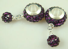 Gorgeous Czech Crystals Dangle Bead fit European Charm Bracelet Earrings 8v8k