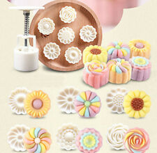 3D DIY 6 Style Stamps 50g Round Flower Moon Cake Mold Mould White Mooncake Decor