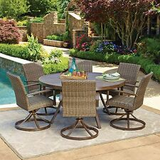 "All-Weather Wicker Outdoor 7pc Patio Dining Set w/ 60"" Round Table"