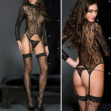 Sheer Black Lace Longsleeve Turtleneck Bodystocking Garter Thigh High Stockings