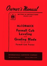 International Farmall Cub Tractor Leveling Grading Blade Owner Operators Manual