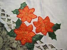 Lovely Extra Large Christmas Tablecloth - Cut Out with Poinsettias