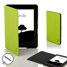 Leather Green Smart Origami Case Cover for Amazon Kindle Voyage + Stylus