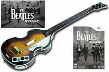 NEW Nintendo Wii Beatles Rock Band Hofner Wireless Bass Guitar & Game RockBand