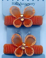 2 Elastic Butterfly Hairband Ponio Bobble- Girls Children Baby Hair Accessories