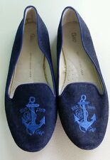 Gap Flats Size 7 Blue Nautical  Embroidered  Anchor Loafers Denim