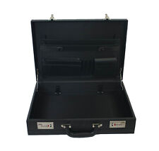 Professional Leather Look Executive Black Briefcase with Combination Locks 6900