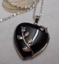 Unique lovely black onyx heart gemstone pendant silver plated necklace flowers
