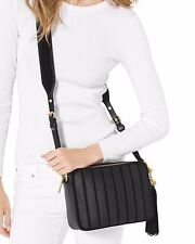 NWT MICHAEL KORS Leather Large Brooklyn Applique Camera Crossbody Bag BLACK Gold
