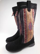 MINNETONKA El Paso Black Suede Embroidered Knit Beaded Mid Calf Boots Sz 5.5