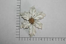 Brooch Pin - Signed LR Lady Remington - White Poinsettia - Gold Tone