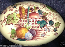 "MASONS FRUIT BASKET RED MULTICOLOR EGG SHAPED TRINKET BOX 4 1/4"" FRUIT"