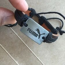 new PUMA WRISTBAND black leather bracelet wrist hand cuff