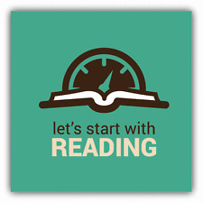 "Book Speedometer Let's Start With Reading Car Bumper Sticker Decal 5"" x 5"""