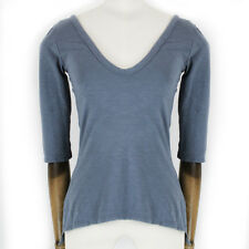 JAMES PERSE Standard Blue Cotton-Jersey Deep V-Neck Top T-shirt 1 Small IT40