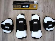 Tendon Fetlock Boots High Quality ROMA Competitor Series PACK of 4 WHITE Horse