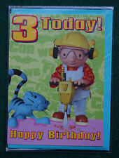 Bob the Builder & Pilchard Cat 3rd Birthday Card for Boys/Girls - BNIP