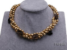 Three-strand Coffee Freshwater Pearl Tea-colored Faceted Crystal Beads Necklace