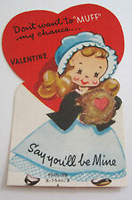 "Used Vtg Valentine Card Cute Old Fashioned Girl Don't Want to ""Muff"" my Chance"