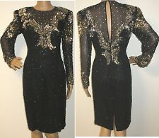 80'S DECO STUDDED GOLD & SILVER SEQUIN SHEER CUT AWAY SILK TROPHY PARTY DRESS 6
