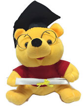 """Winnie the Pooh Graduate with Cap & Diploma Plush 12"""" Tall Yellow Red Glasses"""