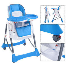 Portable Baby High Chair Infant Toddler Feeding Booster Folding Highchair Blue