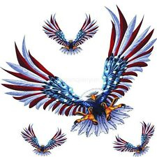 4Pcs Car Decal Flying Hawk Auto Truck USA Eagle Vinyl Flag Sticker Hood Decals