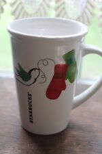 Starbucks Coffee Cup Mug Red Green White 9oz. 2011 Winter Mittens & Birds Xmas