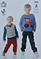 KNITTING PATTERN Boys Long Sleeve Tractor Jumper & Sleeveless Hoodie DK 3862