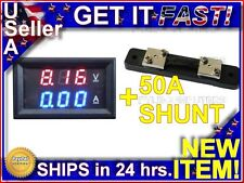 100v 50 Amp DC Digital Display Panel Voltmeter LED Voltage Monitor Meter Blue