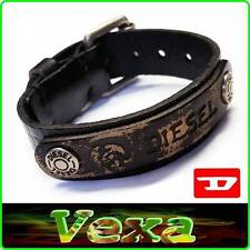 New DIESEL Leather Bracelet Black Bangle Wristband Men's Womens Surfer rock BD37