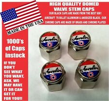 AMC Javelin Tri Color American Motors Chrome Valve Stem Caps = Very Nice!