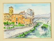 Vintage original painting watercolor watercolour Florence Italy signed Avoclia ?