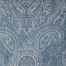Tahari BLUE WHITE 3p KING DUVET COVER Bed SET Paisley Medallion 300tc COTTON New
