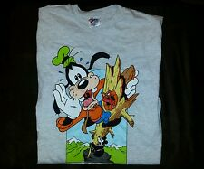 Disney Goofy Bear Bird Hanes Beefy Size Large Graphic T-Shirt Men's Gray NWOT