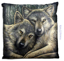 "Lisa Parker Large Cushion: ""Loyal Companions"" Wolves Wolf"