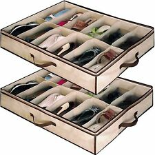 New 24 Pair Shoes Storage Organiser Holder Shoe Bag Under Bed Closet Store Style