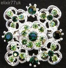 SILVER SPARKLY FLOWER BOUQUET BROOCH GREEN DIAMANTE CRYSTAL WEDDING PIN BROACH