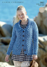 """9861 - SIRDAR CLICK CHUNKY JACKET KNITTING PATTERN -TO FIT CHEST 32"""" - 54"""""""