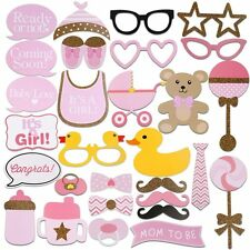 Tinksky 29pcs Baby Shower Photo Props Baby Bottle Masks Pink Photobooth Props...
