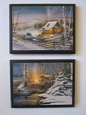Cabins Rustic Wall Decor Plaques Peaceful Winter Snow Scenery Country Pictures