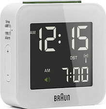 Braun radio despertador alarma Clock digital bnc008 blanco radio controlled Clock White