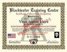 BLACKWATER Hand To Hand Combat Training Certificate / Diploma Prop - CUSTOM -USA