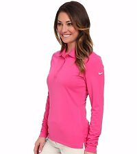 *NEW NIKE GOLF WOMEN'S VICTORY POLO PINK LS BUTTON UP SMALL S 640382-612 *NWT