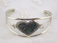 Alpaca Mexican Silver Cuff Bracelet Abalone Shell  Heart Fashion Jewelry NEW