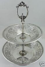 ANTIQUE SILVER PLATE 2 TIER TRAY OPEN WORK GRAPEVINE GRAPES LEAVES